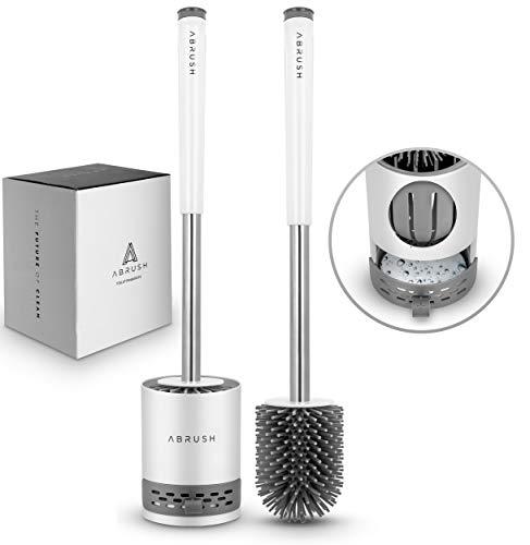 Abrush hochwertige WC Bürste aus Silikon - Premium Klobürste für eine saubere und hygienische Toilette - Toilettenbürstenhalter in weiß/grau mit Wandhalterung
