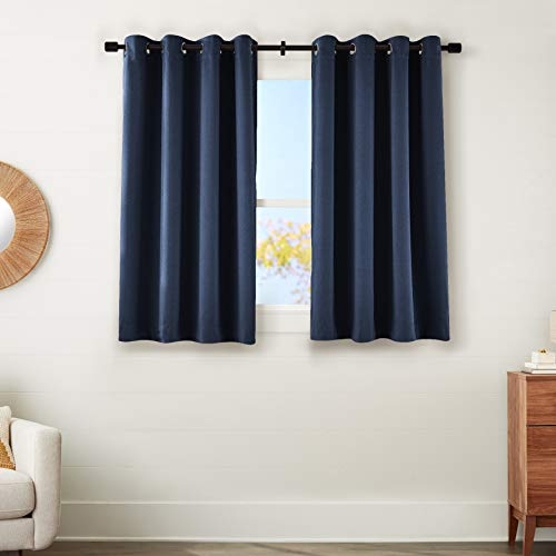 """Amazon Basics 99% Room Darkening Theatre Grade Heavyweight Window Panel with Grommets and Thermal Insulated, Noise Reducing Liner - 52"""" x 54"""", Navy Blue"""