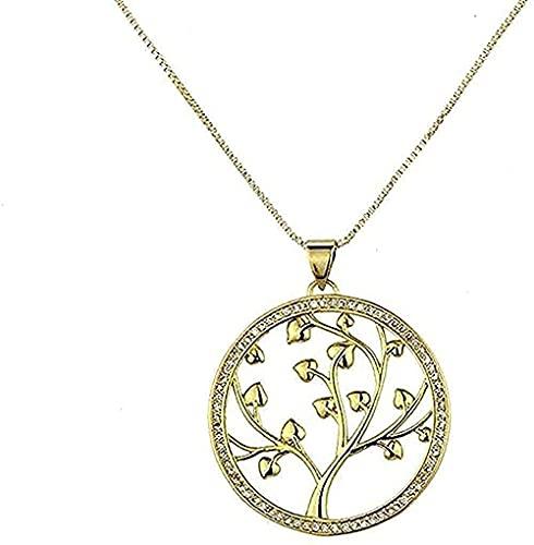 Yiffshunl Collar con Collar de circonitas con Collar de árbol Grande con árbol de la Vida.El diseño de Fion en Cobre Mejora el Temperamento para los Regalos de Mujeres y Hombres.