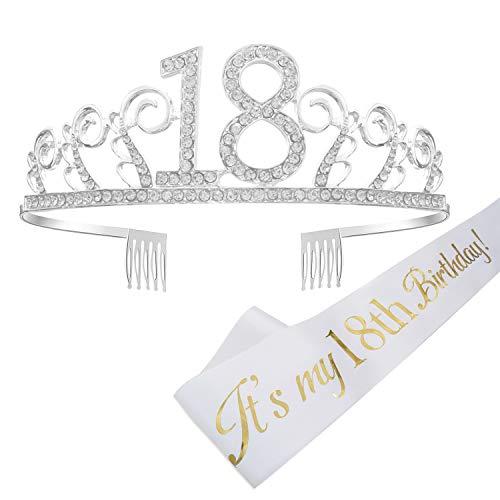 REYOK Couronne Joyeux Anniversaire 18ème,Birthday Girl Sash et diadème 18 ans Tiara avec Peigne Strass Cristal Argent pour la Fête du Bon Anniversaire Décorations (Mot d'or sur Le Blanc)