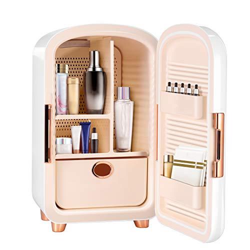 Kacsoo Mini Refrigerador,12L Mini Nevera Pequeña Portátil 62W 110V-240V/12V para Maquillaje Y Cuidado La Piel Maquillaje Nevera con,El Coche De Refrigerador,Mini Refrigerador del Refrigerador (blanco)
