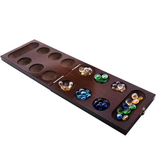 Mancala Board Game Set by GrowUpSmart with Dark Folding Wooden Board  Beautiful Multi Color Glass Beads  Smart tactical game for kids and adults  Easy to store Travel Size Unfolds to 1713 inches