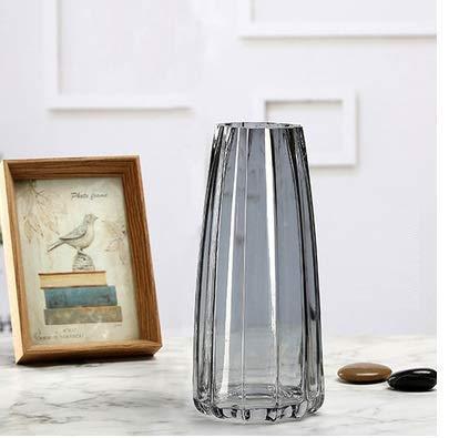 JSMY Gris 22 cm Vase En Verre Décoratif Cristal Clair Moderne Fleur Décor Vase pour Étagère De Table De Bureau À Domicile