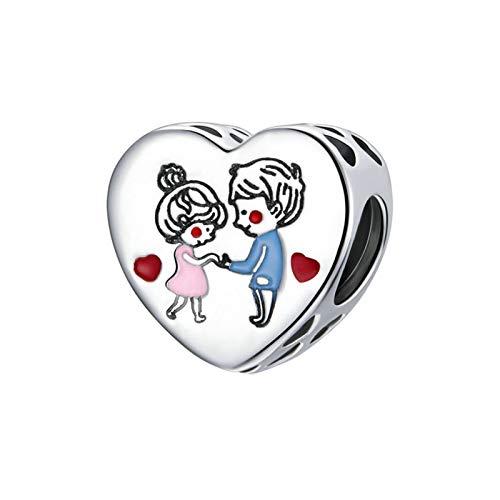 HMMJ Los encantos cuelgan Las Cuentas, el Amor de la Plata esterlina S925 para los niños y Las niñas DIY Colgante Hecho a Mano para Pandora Troll Chamilia Charm Pulsera Collares