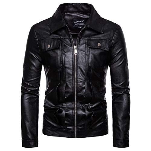 Lavadora para Hombre Cuero Cuero PU Chaqueta de Cuero Chaqueta para Hombre Warm Boutique Jacket