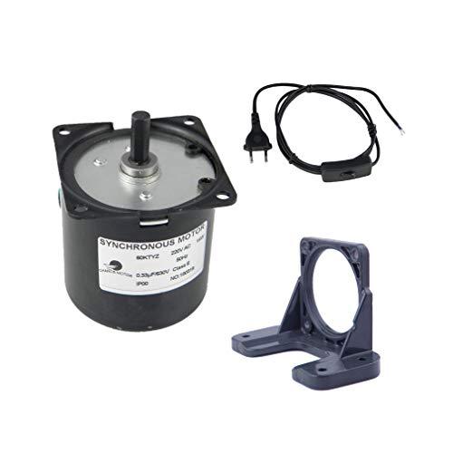 CHANCS Miniatura de baja velocidad 60KTYZ 220 V AC 1.2r/min Motor eléctrico con soporte y enchufe del interruptor del cable de alimentación de la UE/Reino Unido