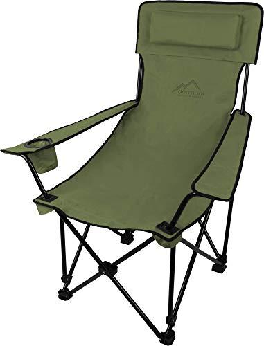 normani Sehr Stabiler Klappstuhl Campingstuhl Angelstuhl mit Getränkehalter, Abnehmbarer Polsterung Tragetasche - bis zu 150 kg Farbe Oliv