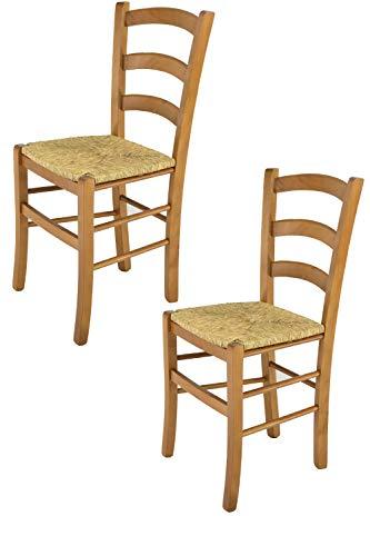 Tommychairs - 2er Set Stühle Venice für Küche und Esszimmer, robuste Struktur aus lackiertem Buchenholz im Farbton Eichenholz und Sitzfläche aus Stroh