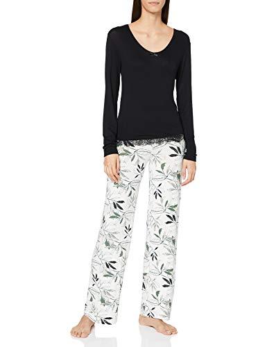 Melissa Brown AF.amaz.PY Juego de Pijama, Noir/Ecru.S para Mujer