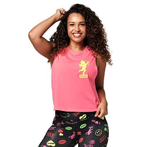 Zumba Fitness Active Loose Muscle Top Sexy Activewear Camisetas Tirantes Mujer de Entrenamiento Blusas, Love Pink, X-Small