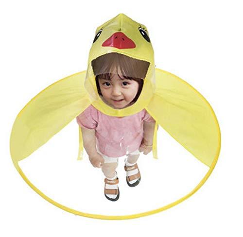 SDJYH Netter Regenmantel Cartoon Ente Kinder Regen Kinder Regenschirm Hut Hände Kostenlose Tops Jungen Und Mädchen Winddichter Poncho Baby