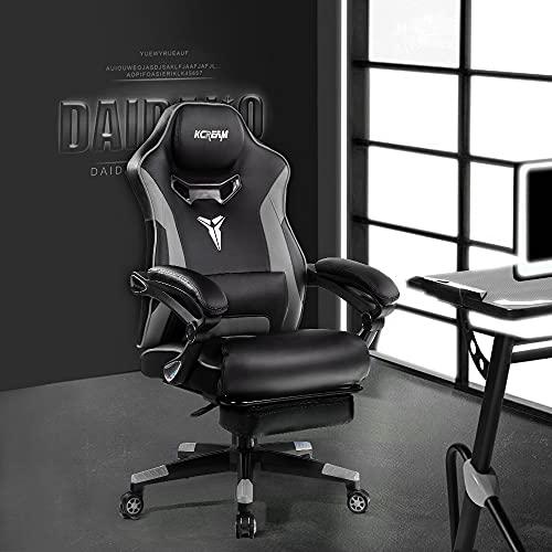 Kcream Gaming Stuhl Bürostuhl Ergonomischer PC-Stuhl mit Massage Lendenwirbelstütze, Racing Stil PU Leder Hohe Rückenlehne Verstellbarer Drehsessel mit Fußstütze (8521-Gray)