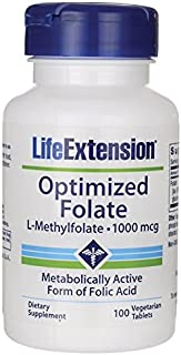 Life Extension Optimized Folate (L-Methylfolate), 1000 mcg 100 Vegetarian Tablets (3 Pack)