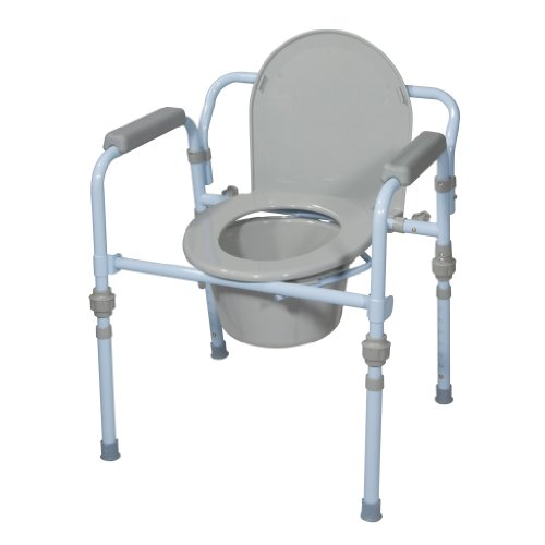 Drive Medical Folding Bedside Commode Seat with Commode Bucket and Splash Guard,...