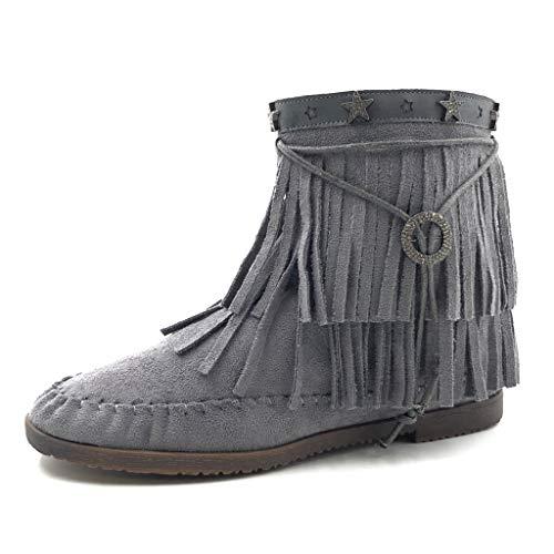 Angkorly - Damen Schuhe Stiefeletten - Western - Cowboy - Flexible - Fransen - Stern Flache Ferse 2 cm - Blau 2 M65 T 41