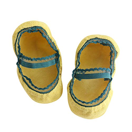 COZOCO Botas Antideslizantes Para Niños De Dibujos Animados Para Bebés Zapatos Calientes Zapatillas De Interior En Calcetines De Tubo (M, Amarillo)