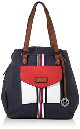 Rieker Damen Rucksackhandtasche H1026, Blau (Pazifik/Bianco/Rosso), 320x120x310 cm
