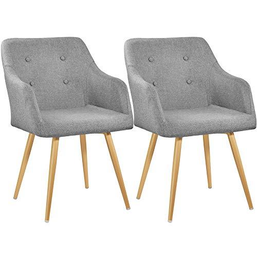 TecTake 800778 Set 2X Sedia da Pranzo rétro, Aggraziato Design, Elevato Comfort di Seduta, Resistente Rivestimento in Stoffa - Disponibile in Diversi Colori (Grigio | No. 403531)