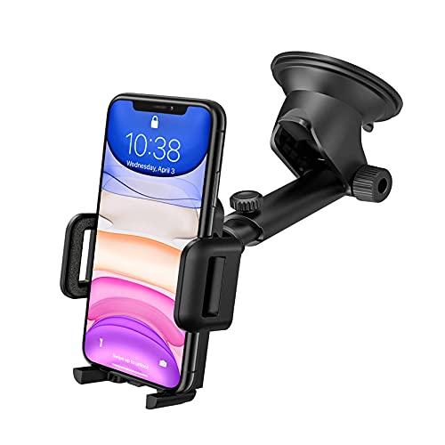 Support Téléphone Voiture Ventouse pour Tableau de Bord Pare-Brise, Support Voiture Rotation 360° Bras Prolongé Angle Télescopique Porte Telephone Voiture pour Smartphones et GPS 4.7-7.0 Pouces