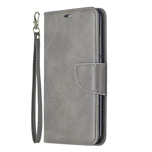 Lomogo Huawei Y7 / Y7 Prime Hülle Leder, Schutzhülle Brieftasche mit Kartenfach Klappbar Magnetverschluss Stoßfest Kratzfest Handyhülle Case für Huawei Y7 / Y7 Prime - LOBFE150411 Grau