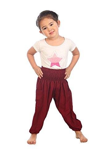 Lofbaz Fille Solid Hippie Gypsy Pantalons Pirate Enfant Thaï Bohemian Bourgogne Taille 4T
