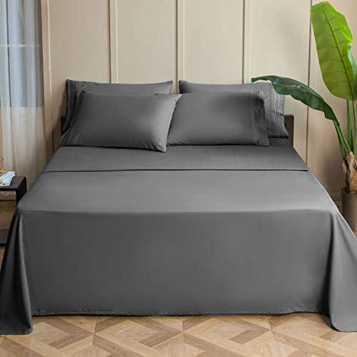 SONORO KATE Bed Sheets Set Sheets Microfiber Super Soft 1800 Thread Count Egyptian Sheets 15-17 Inch Deep Pocket Wrinkle - 6 Piece (Dark Grey, King)