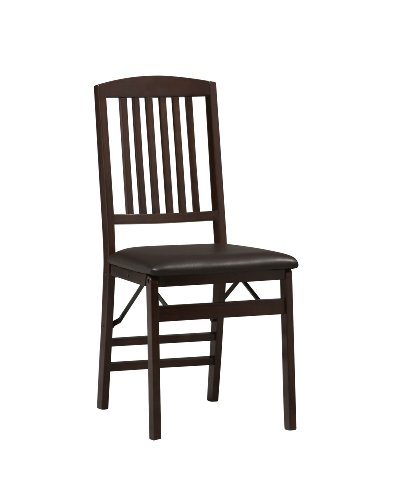 "Linon Triena Mission Back Set of 2 Folding Chair, 17"" w x 20"" d x 36"" h, Brown"