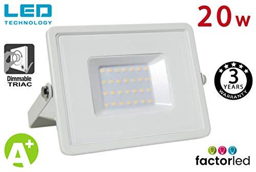 FactorLED Foco Proyector LED 20W Exterior Blanco IP65 Elegance Dimable Triac, Decoración para Patios y Terrazas, Iluminación Arquitectónica, 3 Años de Garantía (Blanco Neutro)
