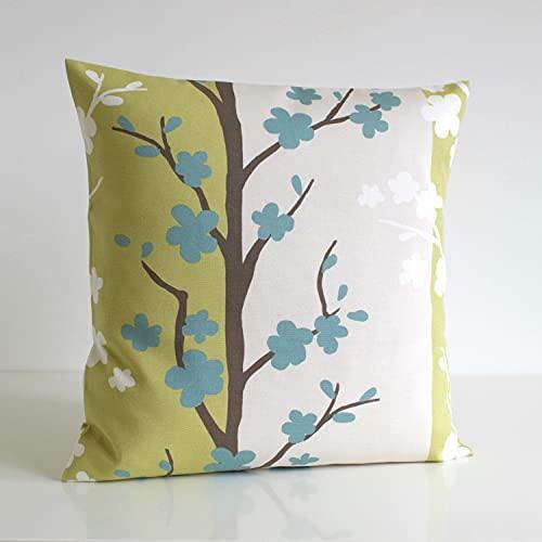 Funda de cojín verde para mamá y papá, funda de cojín escandinava, funda de almohada de algodón, almohada decorativa de sofá, almohada de manta – funda de cojín de pistacho de flor nórdica