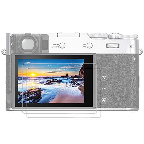 (2 Pack) JJC Protector de Pantalla de Cristal Templado para Cámara Digital Compacta Fujifilm X100V, X-T4, X-E4, Ultrafina, HD, Alta Dureza, Irrompible, Antiburbujas
