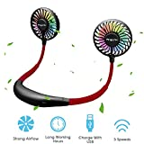 AngLink Hanging Personal Portable Neck Fan, Hands Free Rechargeable Mini USB Battery Operated Fan with 3 Speed, 360° Free Rotation, 7 Colors of LED Light Conversion for Home Office Pets Travel Indoor Outdoor