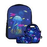 Conjunto de mochila escolar,Acuario de medusas,con bolsa de almuerzo y estuche para lápices para mochila para adolescentes