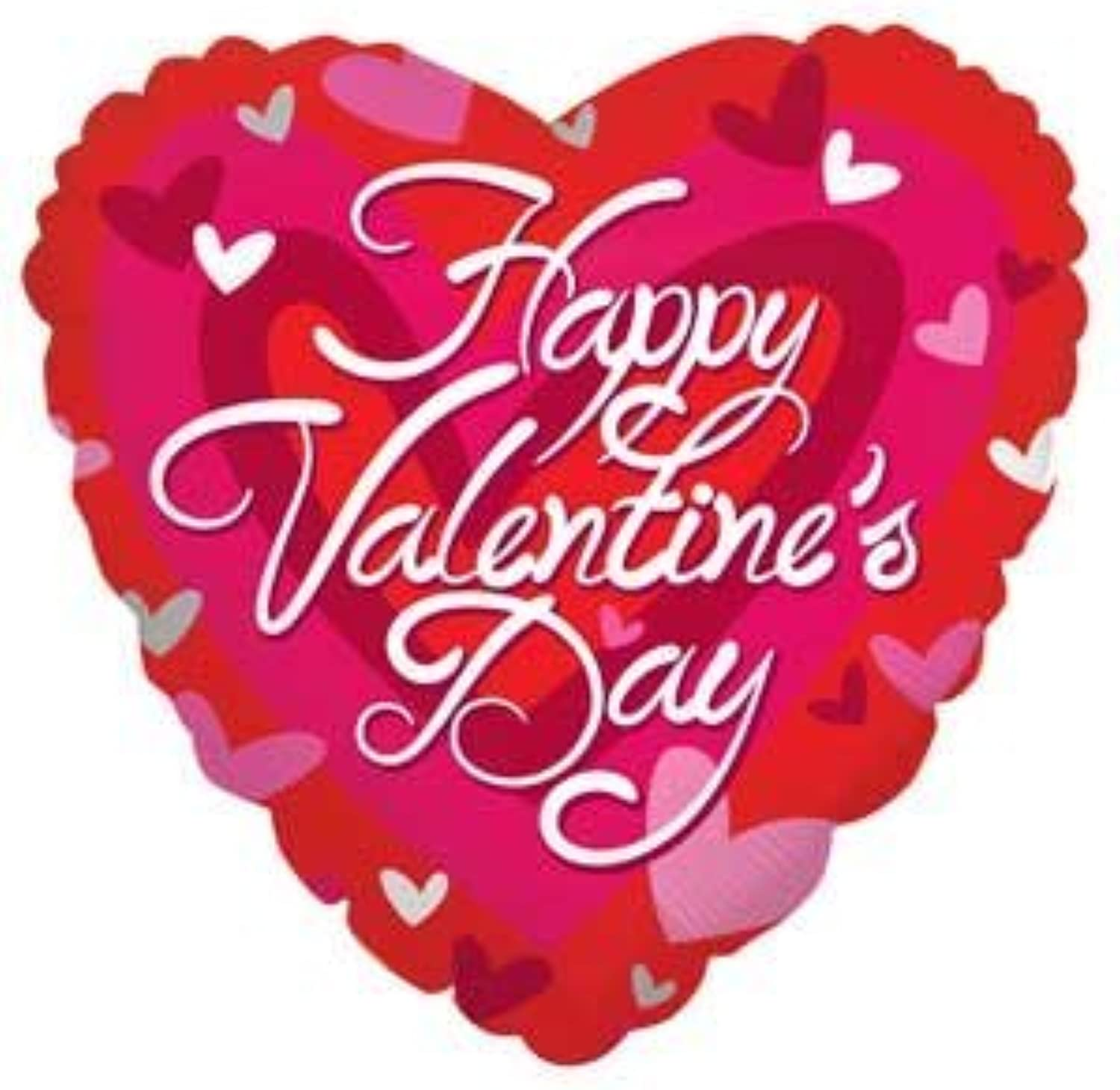 Single Source Party Supplies - 18  Valentine Heart - Pink & Silver Hearts Mylar Foil Balloon