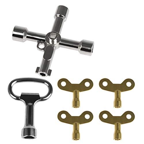 YANSHON 4-Wege Multifunktionale Utilities Schlüssel, Schaltschrankschlüssel, Entlüftungsschlüssel, Gas Meter Keys, Schlüssel für Heizkörper/Messgeräte 6-Teilig