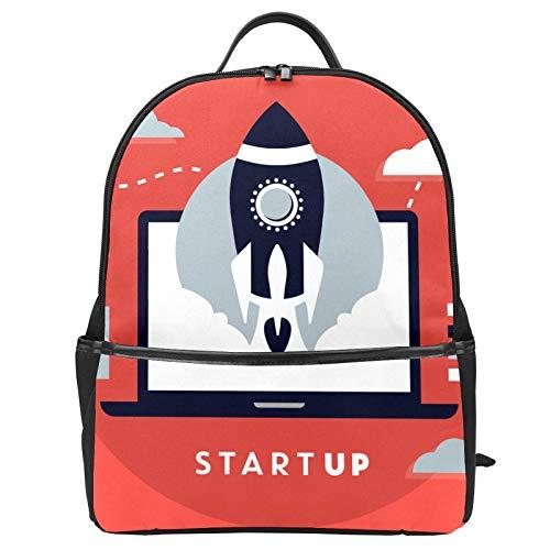 Business Startup con Rocket Red School Bag Zaino di Tela Grande Capacità Satchel Casual Travel Daypack per Bambini Ragazze Ragazzi Bambini Studenti