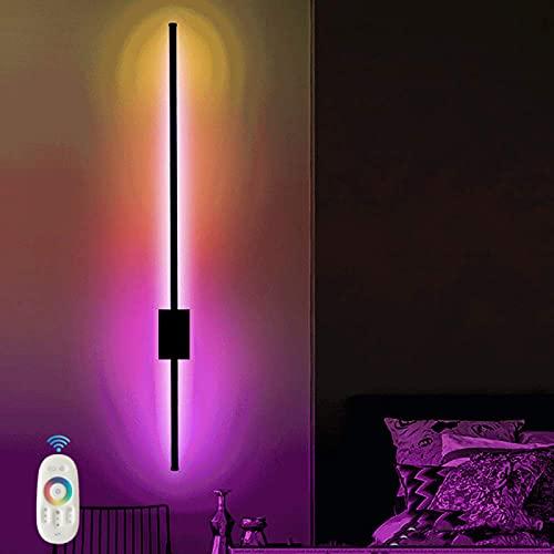 VOMI RGB Regulable Pasillo Pared Luz Con Toque Mando a Distancia y Color LED Lámpara de Pared para Sala Dormitorio Cuarto de Los Niños Café Bar Fiesta Negro Lineal Decoracion Lampara 20W 100CM