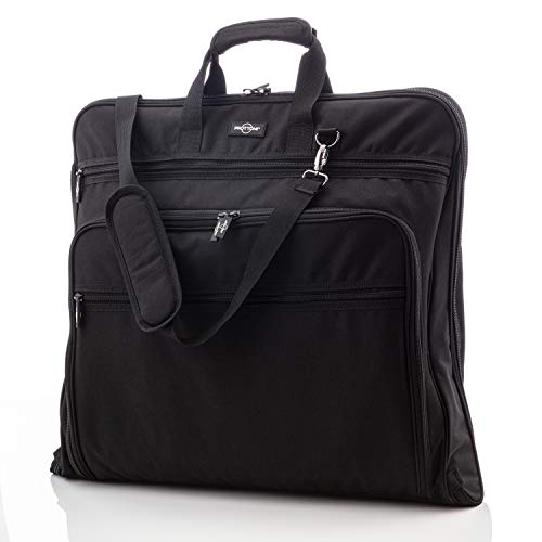 Prottoni 44-Inch Garment Bag for Travel – Water-Resistant Carry-On Suit Carrier (Black)