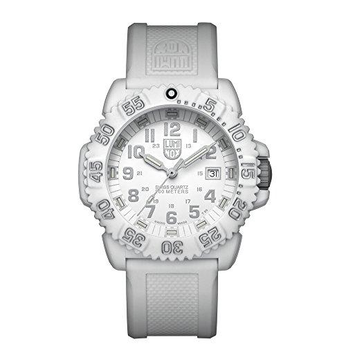 Luminox Outdoor Uhr Damen Navy Seals Colormark (XS.3057.WO/ 3050 Serie) Made in Schweiz + weiße Glasfaserummantelung, weißes Ziffernblatt und Uhrband, 200 Meter wasserdichte