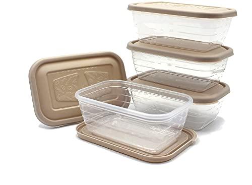 Unishop Set de 5 Recipientes de Plástico para Comida, Fiambreras Sin BPA, Táper Apto para Microondas, Congelador y Lavavajillas, de Colores Pastel (Marrón, 500ml)