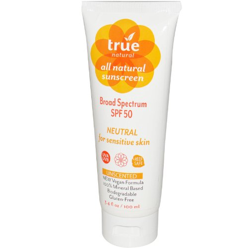 True Natural SPF 50 Sunscreen, NEUTRAL / Unscented, Broad Spectrum 3.4...