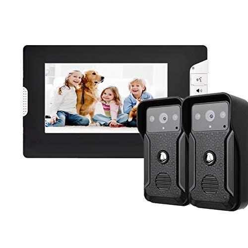 Videoportero, Sistema de intercomunicación con Timbre de Video con LCD de 7 Pulgadas con cámara de 1000TVL para Exteriores, Soporte de visión Nocturna por Infrarrojos, monitoreo, desbloqueo(EU)