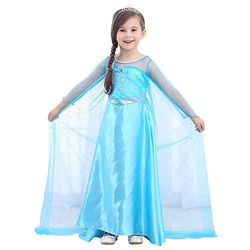 URAQT Reine des Neiges Elsa Costume et Accessoires Gants Couronne Baguette Tresse Robe Longue Deguisement pour Fille, Tz20-lyq-003, Taille 110 pour les 3-4 ans