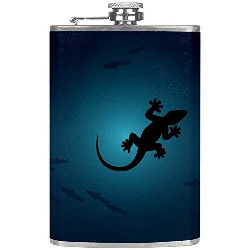 Bennigiry - Petaca para hombre con diseño de lagarto Gecko Chameleon a prueba de fugas de acero...