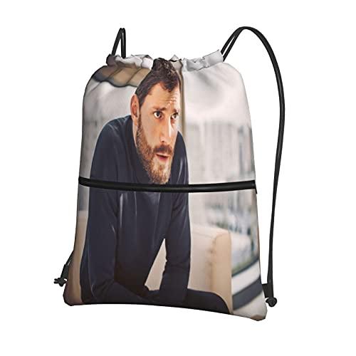 Mochila deportiva con cordón, bolsa de viaje para la escuela o el niño o la niña, bolsa de viaje con cordón impermeable Jamie Dornan con cierre externo