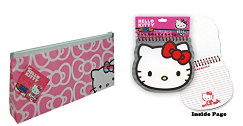 Hello Kitty Pencil Pouch and Diecut Face Notepad Set