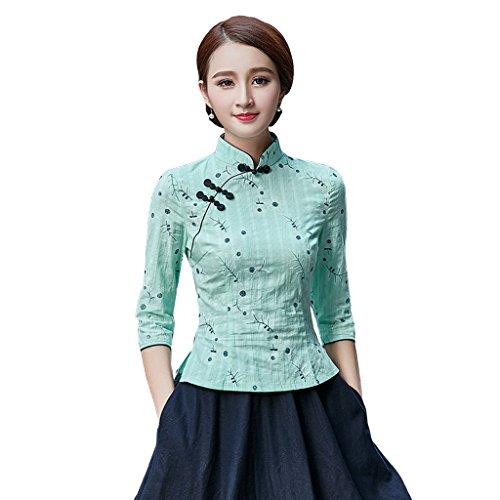 YueLian Camicia a Fiori Stampati Cotone Canapa Aderente Blusa a Maniche Medie(Verde Chiaro,China XL=IT 44)