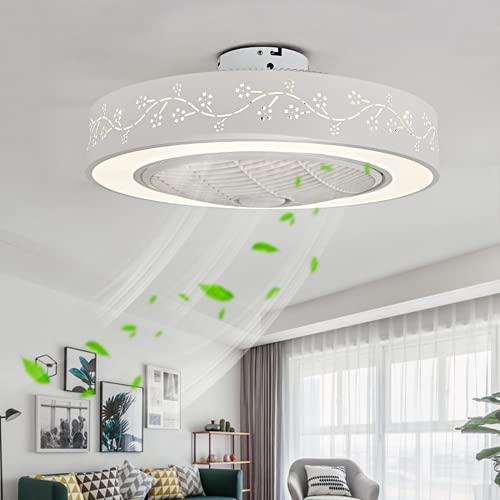 Ventilador de techo con iluminación, velocidad del viento ajustable, moderna lámpara LED de techo con ventilador, lámpara de salón, lámpara de ventilador invisible para dormitorio