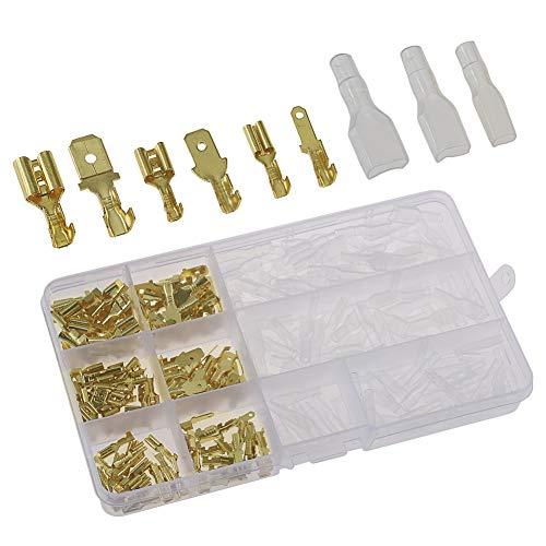 240 Piezas 2.8mm 4.8mm 6.3mm Cable Terminal Crimp Macho Femenino Spade Conector de Bloque de Terminales con Aislamiento Manga Surtido Kit Latón Plateado Oro
