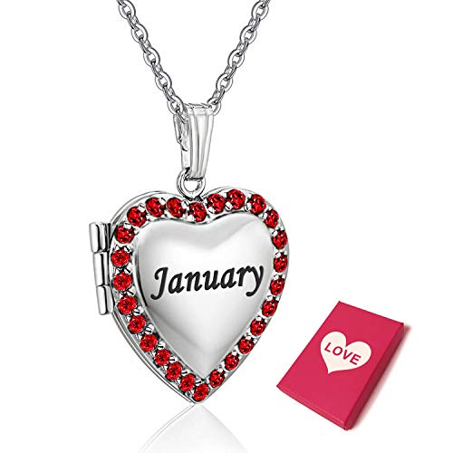 YOUFENG Love Heart Locket Necklace Holds Pictures Paved Blue Red White CZ Rose Gold Charm Living Memory Photo Lockets (January)