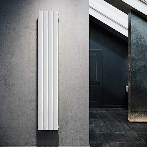 Design Flach Heizkörper 1800x308mm Weiß Paneelheizkörper Vertikal Mittelanschluss Doppellagig